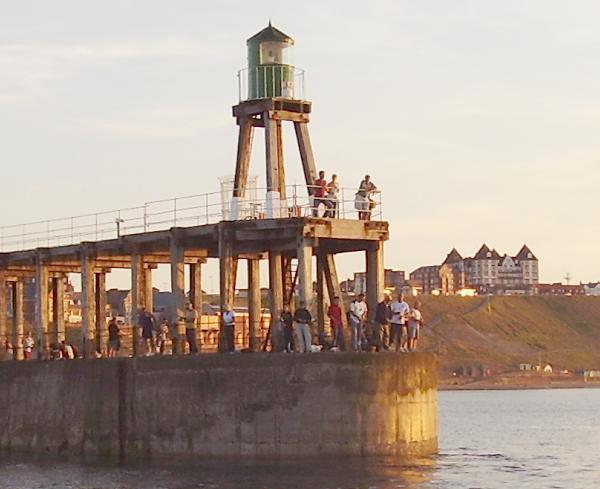 Mackerel fishing on Whitby's west pier
