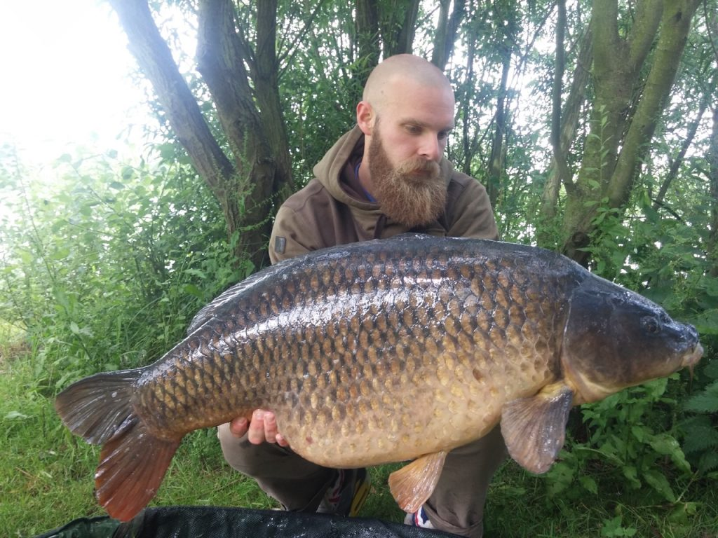 45lb common caught by Ashley Hymus on Enterprise Tackle Imitation Chick Peas